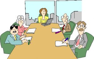 cartoon image of a table with five people having a meeting